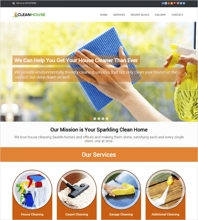 CleanHouseopTop House Cleaning and Housekeeping Service WordPress Theme