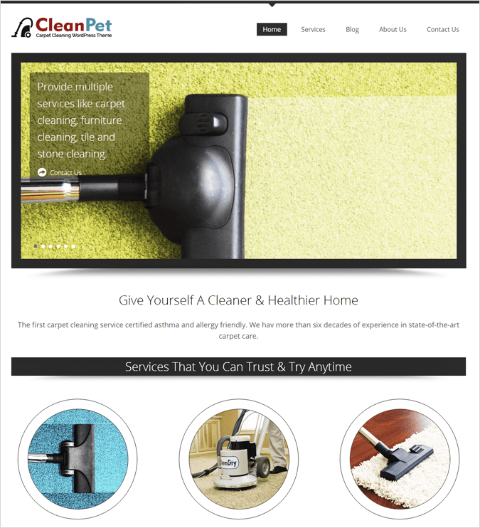 CleanPet Top House Cleaning and Housekeeping Service WordPress Theme
