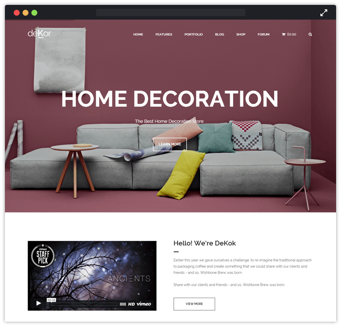 Dekor Furniture WordPress Theme for Carpenters
