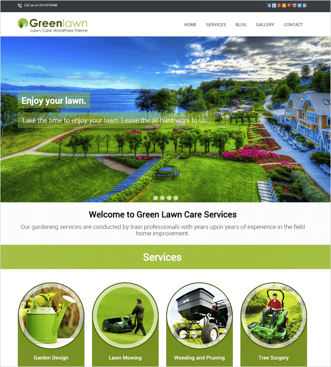 Green Lawn Top House Cleaning and Housekeeping Service WordPress Theme