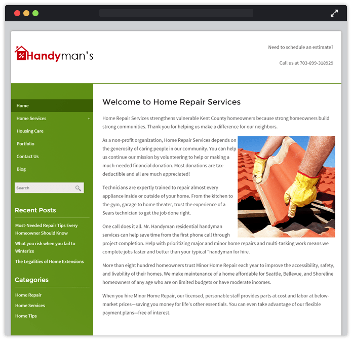 Handyman Home Repair Business WordPress Theme