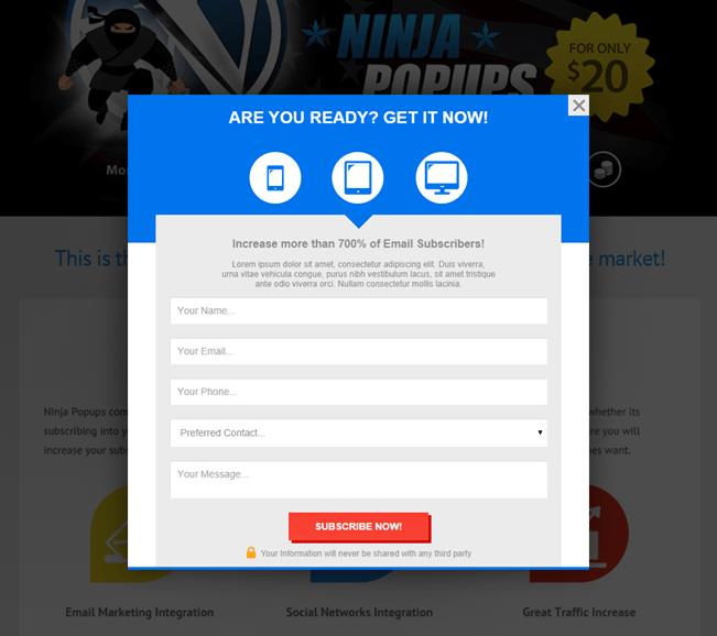 popup plugin Ninja