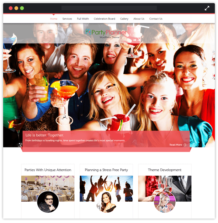Party Planner - wedding planner wordpress theme