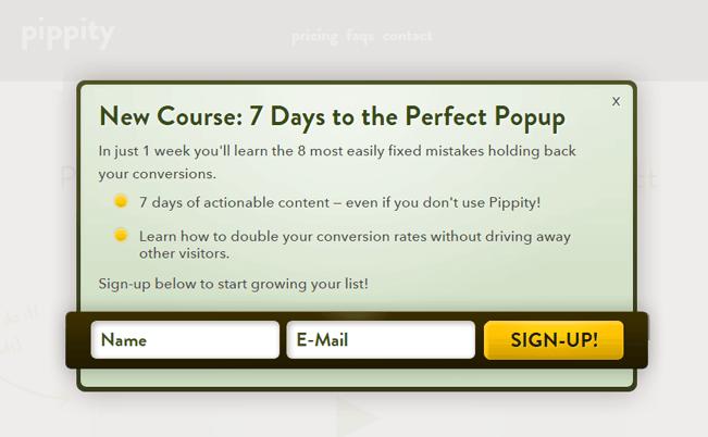 popup plugin Pippity