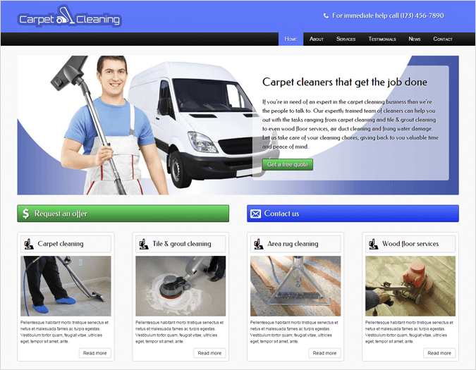 The Carpet Cleaning Top House Cleaning and Housekeeping Service WordPress Theme