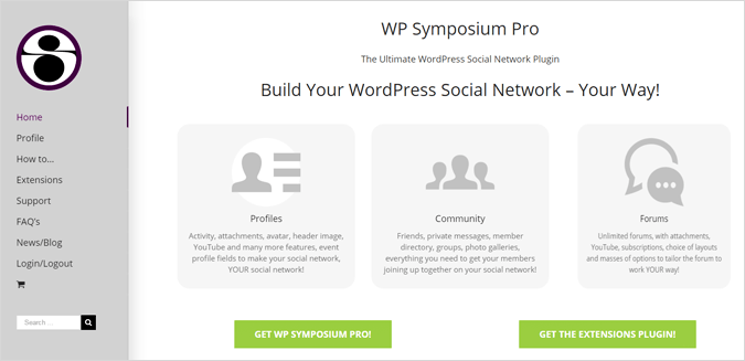 WP Symposium Pro forum software