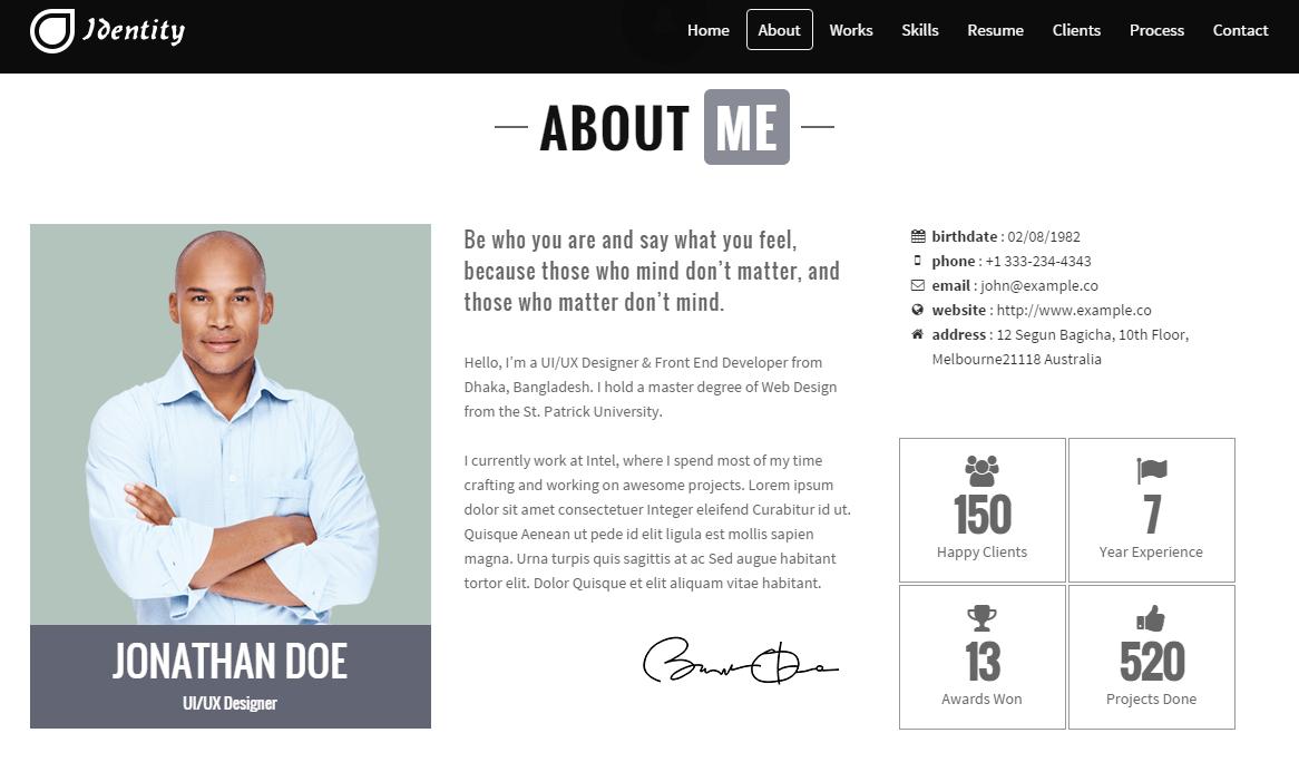 identity resume