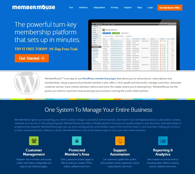 membermouse - wordpress membership manager