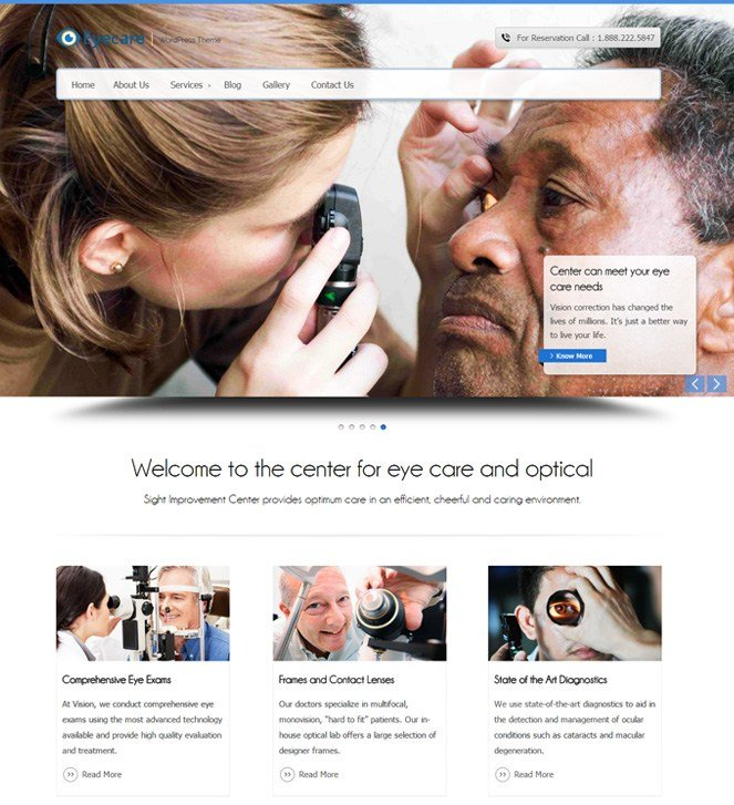 optometrist wordpress template