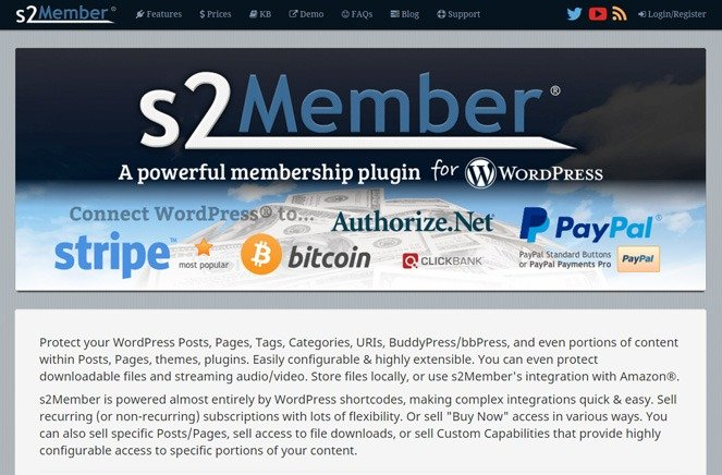 s2member - wordpress membership manager