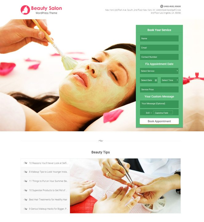 beauty salon online booking wordpress theme