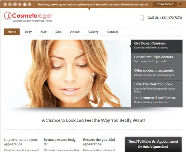 cosmetic surgeon wordpress theme