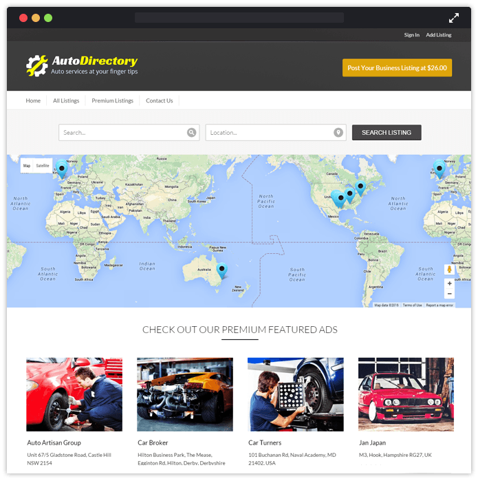 AutoDirectory Best Car Automobile WordPress Theme