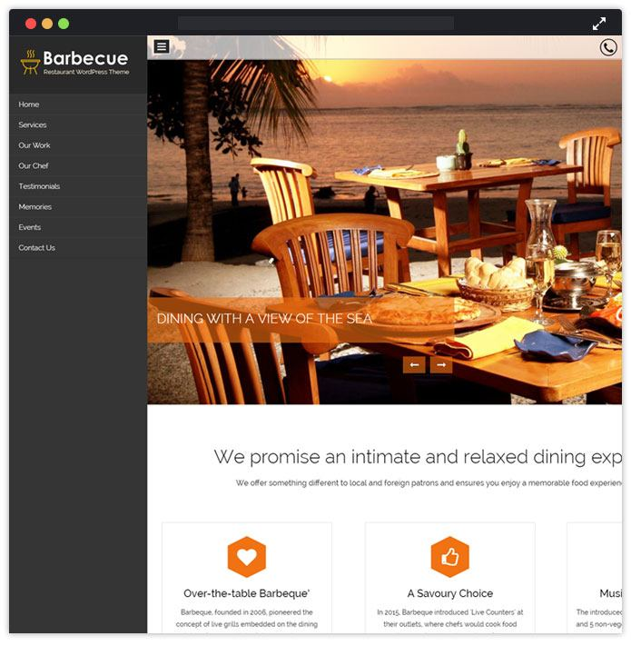 Barbecue Top Bar Pub Tavern WordPress Themes InkThemes