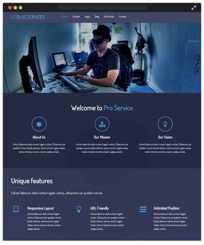 blue business computer it industry wordpress themes