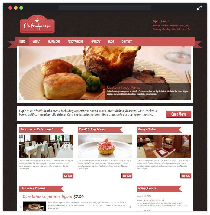 CafeHouse Top Bar Pub Tavern WordPress Themes InkThemes