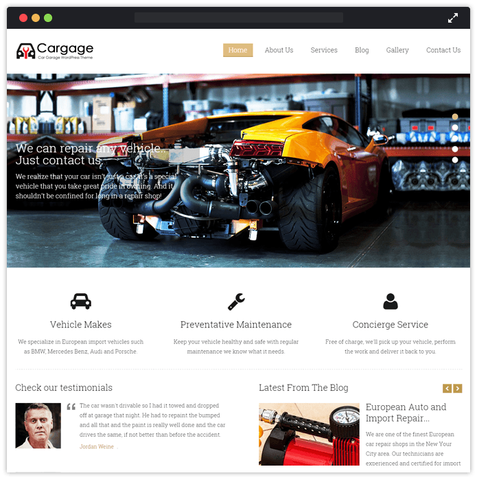 Cargage Best Car Automobile WordPress Theme