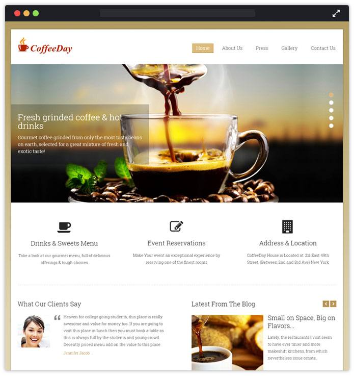CoffeeDay WordPress Theme