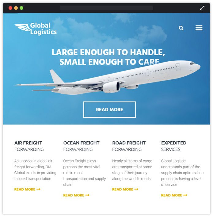 Global Logistics - Transportation & Warehousing WordPress Theme