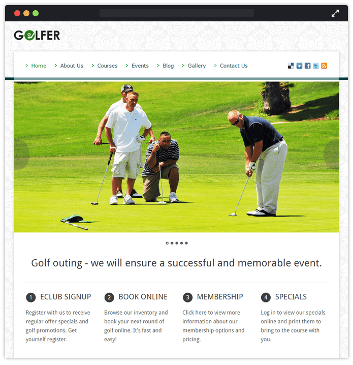 Golfer Sports WordPress Theme