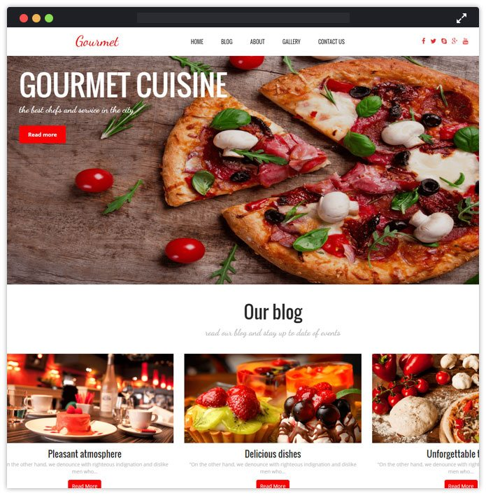 Gourmet Top Bar Pub Tavern WordPress Themes InkThemes