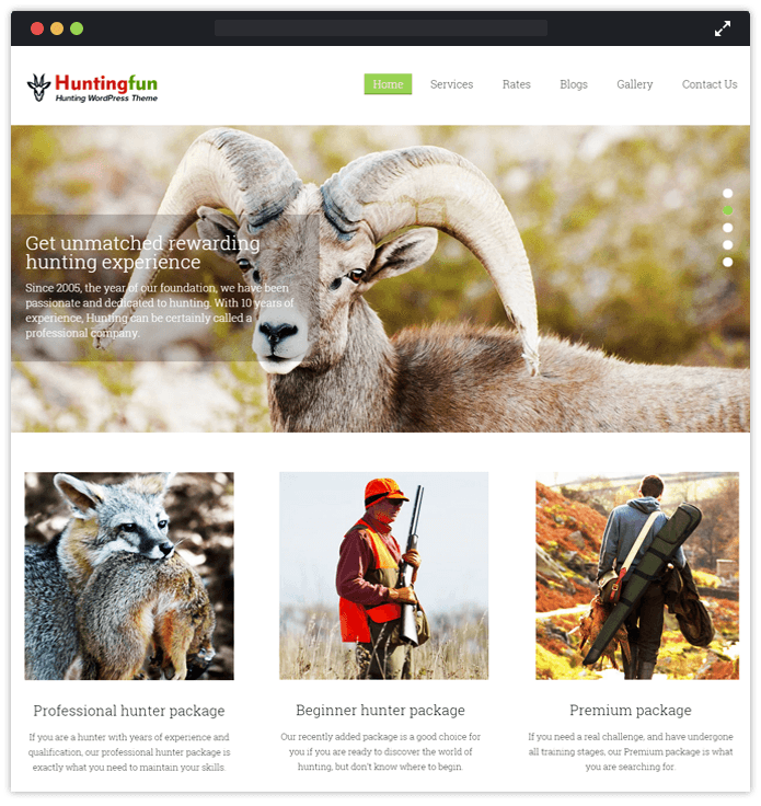 Hunting Fun Sports WordPress Theme