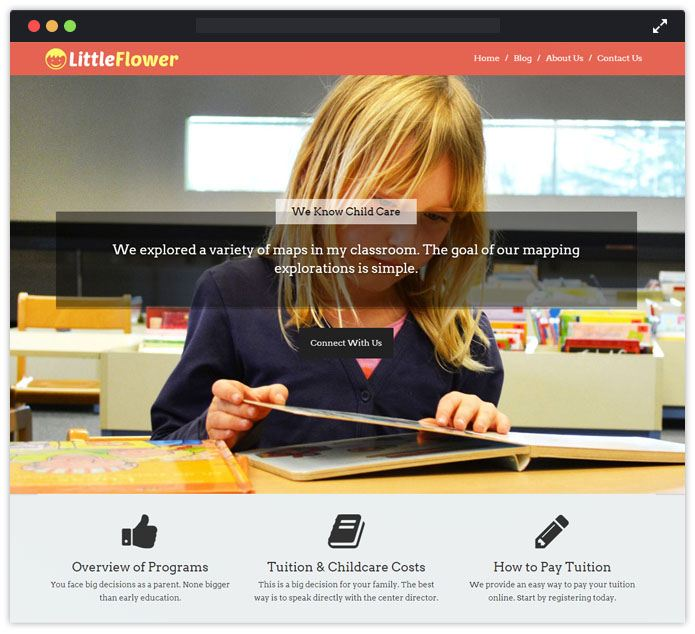LittleFlower Best Preschool Child Care & Kindergarten WordPress Themes