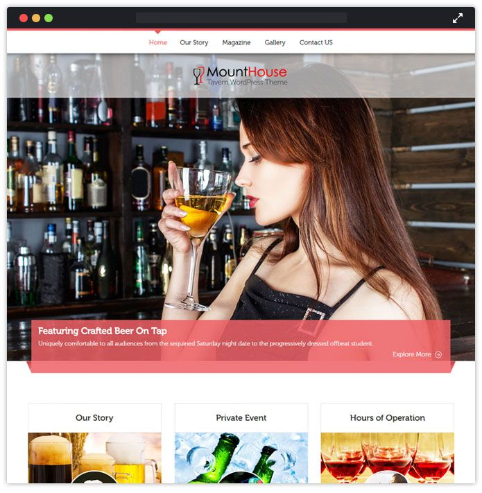 MountHouse Top Bar Pub Tavern WordPress Themes InkThemes