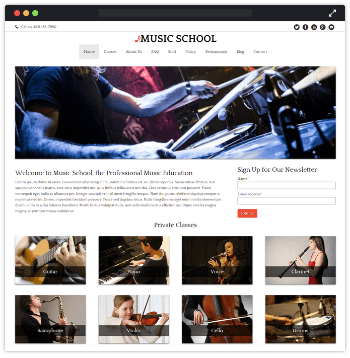 20 best music wordpress themes for bands musicians 2018 music school wordpress music inkthemes maxwellsz