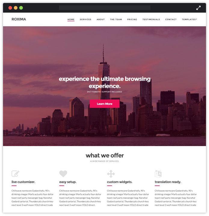 Roxima Corporate WordPress Themes InkThemes