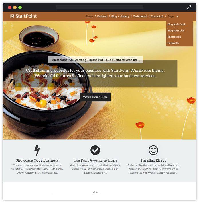 StartPoint Top Bar Pub Tavern WordPress Themes InkThemes