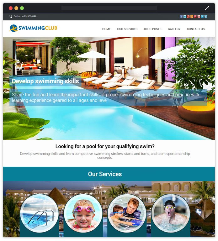 Swimming Club Top Academic WordPress Themes InkThemes
