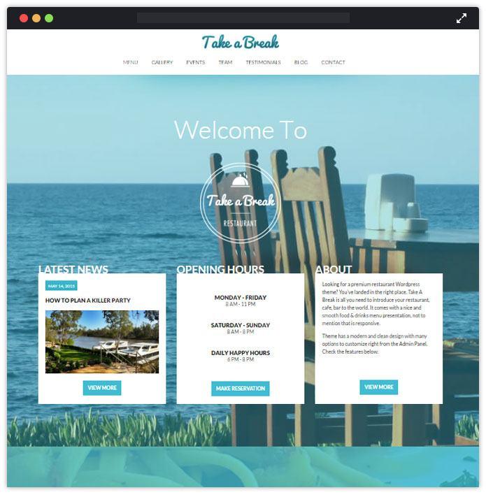 Take A Break Top Bar Pub Tavern WordPress Themes InkThemes