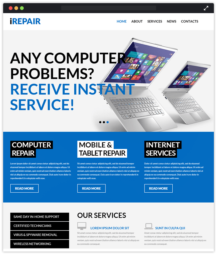 iRepair Computer & IT Industry WordPress Themes