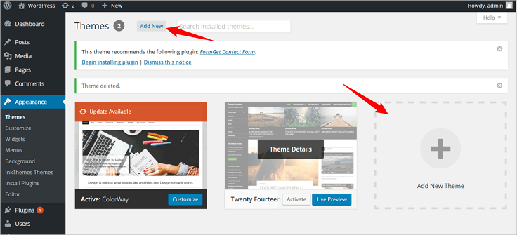 WordPress Add New InkThemes