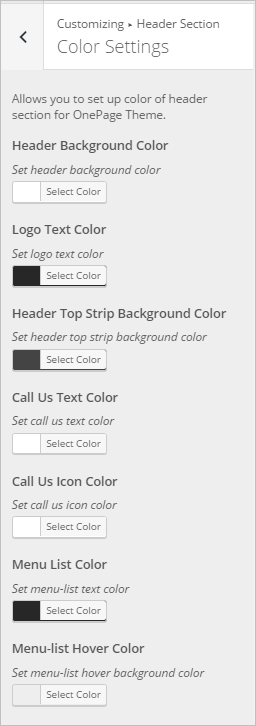 WordPress Color Settings InkThemes