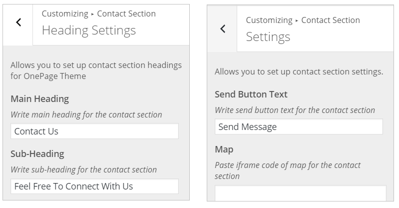 WordPress Contact Section InkThemes