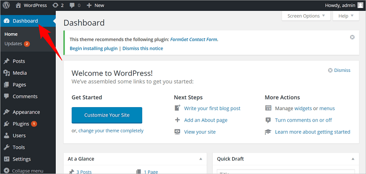 WordPress Dashboard InkThemes