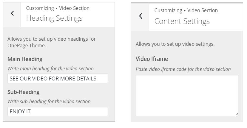WordPress Video Section InkThemes