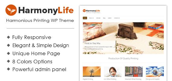 Harmonious Printing WordPress Theme