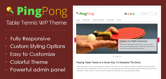 Table Tennis WordPress Theme