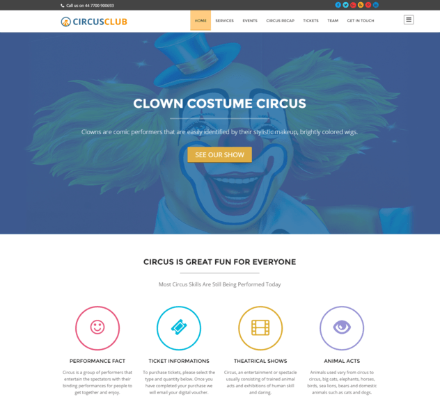 circus club wp theme