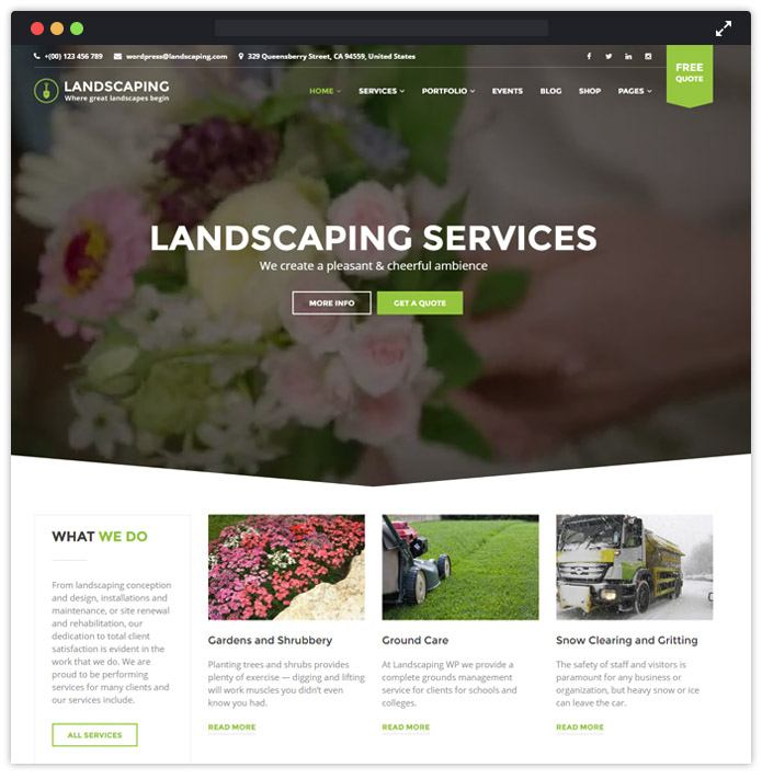 landscape wp theme template