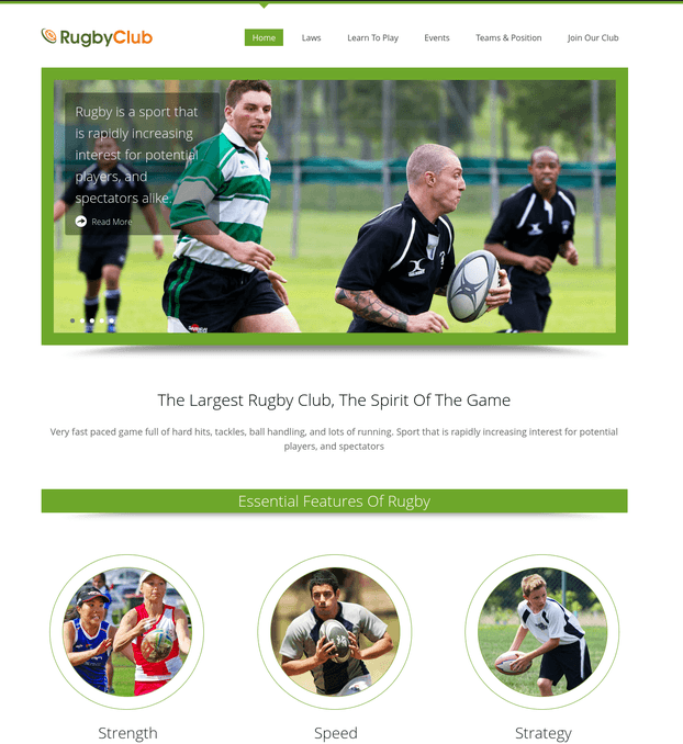 rugby club wp theme