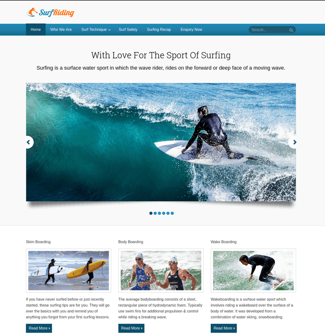 surf riding wp theme