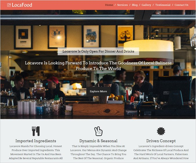 Loca Food - Locavore Restaurant WordPress Theme