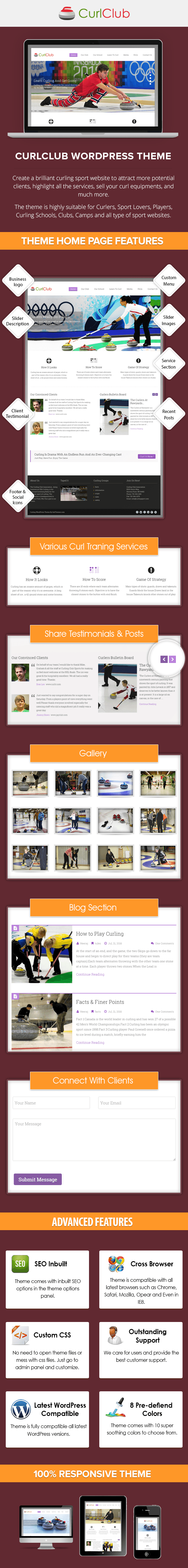 Curling WordPress Theme Sales Page Preview