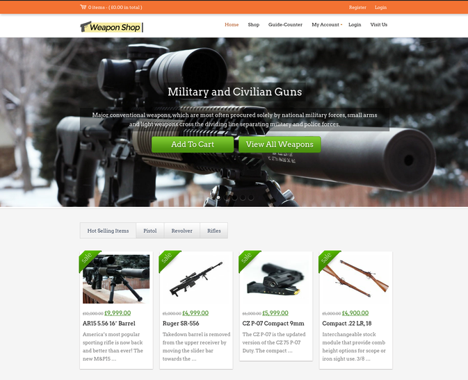 weapon shop wp theme