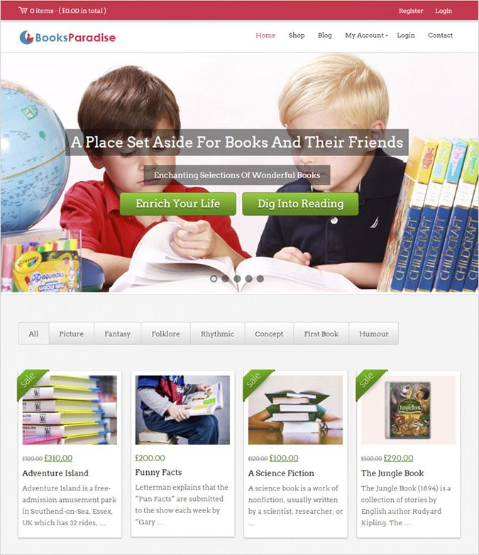BookParadise - Kindergarten WordPress Themes
