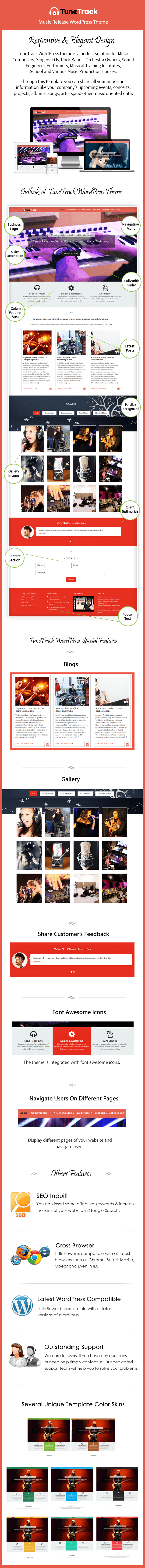 Music Release WordPress Theme Sales Page